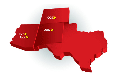 Cutter Aviation FBO and Line Service Location Network in the Southwest: Arizona, Colorado, New Mexico and Texas