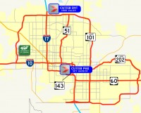 Cutter Aviation Phoenix FBO Locations at PHX and DVT Compared to the University of Phoenix Stadium